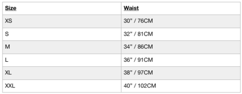 In the image is a size chart for Box Menswear clothing. Extra small fits a waist circumference of 30 inches or 76 centimeters. Small, 32 inches or 81 centimeters. Medium, 34 inches or 86 centimeters. Large, 36 inches or 91 centimeters. Extra large, 38 inches or 97 centimeters. Extra extra large, 40 inches or 102 centimeters.
