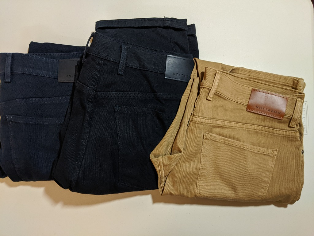 Mott and Bow Mercer jeans in blue, navy and khaki, left to right.