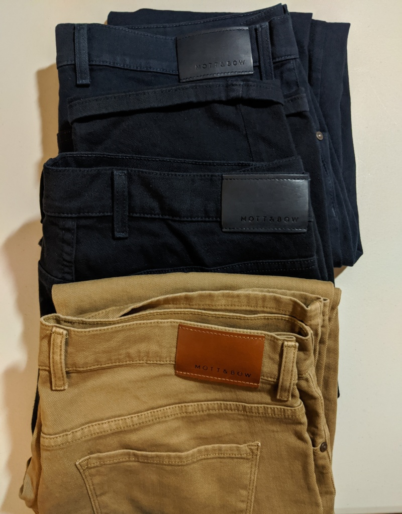 Mott and Bow Mercer jeans in blue, navy, and khaki