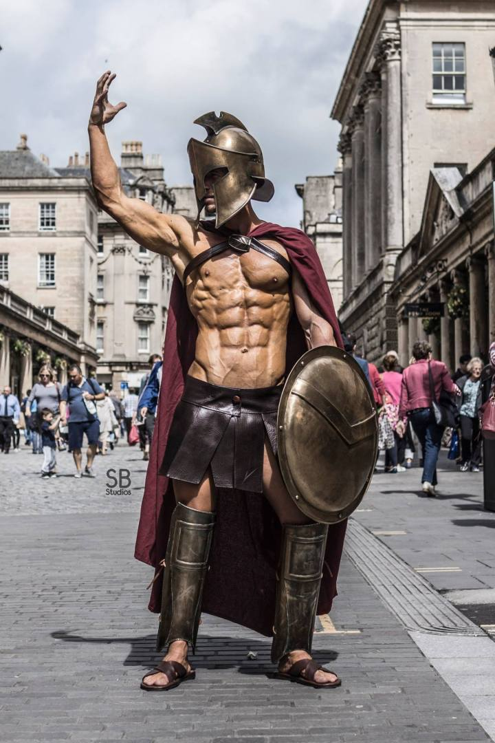 Model Blake in a Spartan Warrior costume (from 300 Movie) in Bath, UK.